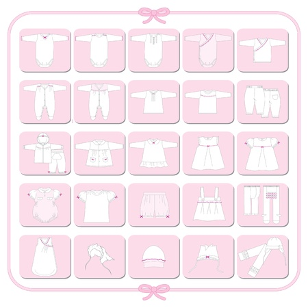 Pictograms of white babygirl dresses Stock Vector - 14410185