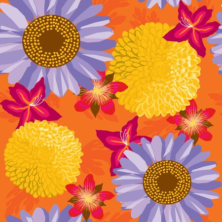 floral garden, wrapping, seamless pattern, orange background illustration Stock Vector - 14410191