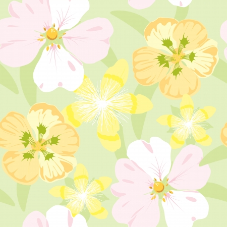 floral garden, wrapping, seamless pattern, pastel background illustration Illustration