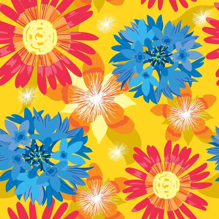 Seamless flower, summer background - floral garden, wrapping, seamless pattern, illustration