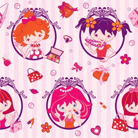 pink cartoon girls, makeup and jewelry - illustration