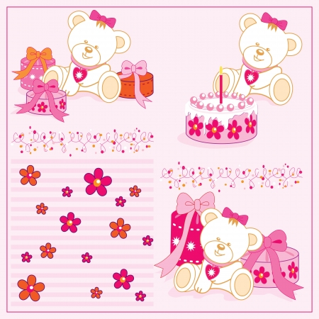 white girl teddy bear, with cake, gifts, illustrations Vector