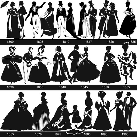 fashion story: Black and white 1800-1900 fashion silhouettes are dancing and walking, vector, illustration