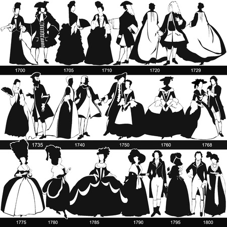 plumed: Black and white 1700-1800 fashion silhouettes, vector, illustration Illustration