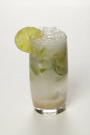 bubble acid: Mineral water with lime Stock Photo