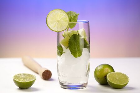 Mineral water with lime Stock Photo