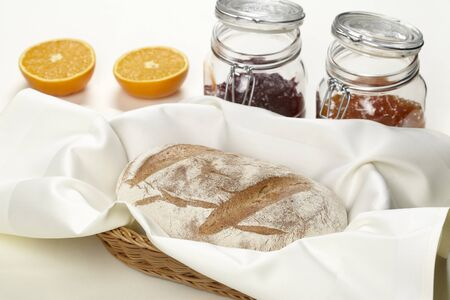 Bread with jam and table decorations Stock Photo