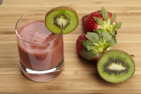 Smoothie of strawberries, kiwi and banana Stock Photo