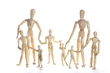 Wooden doll family with children