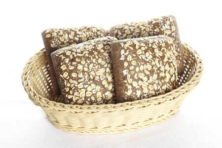 Basket with oatmeal bread