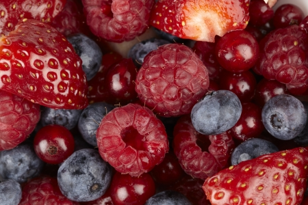 Fruit salad of berries - Closeup