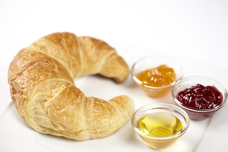 Plate with croissant, jam and honey