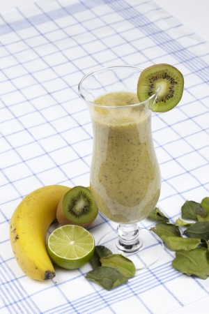 Green smoothie - kiwi, banana and lime photo