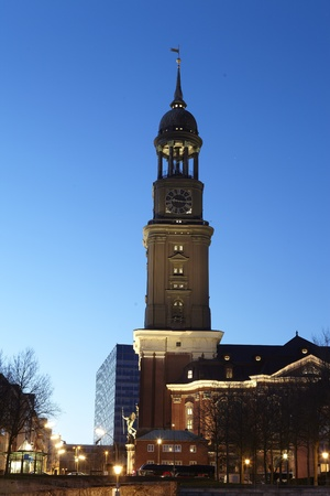Hamburg   Germany - St  Michaelis church in the evening