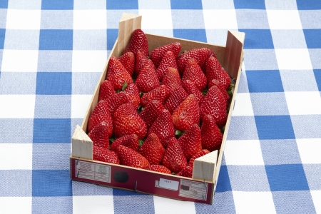 Stairs with strawberries on checkered tablecloth Imagens