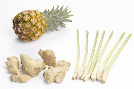 Ingedients like pineapple, lemon grass and ginger for the use in the Asian cuisine  Zdjęcie Seryjne
