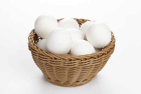 exempted: A basket of eggs exempted on a white background