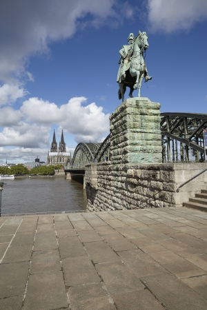 kaiser: The equestrian statue of german Kaiser Wilhelm I  at the Hohenzollern Bridge in Cologne, Germany, Northrhine-Westphalia
