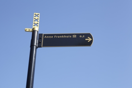 anne: Roadsign to the Anne-Frank-House (Anne-Frankhuis) in the capitol city of the Netherlands, Amsterdam.