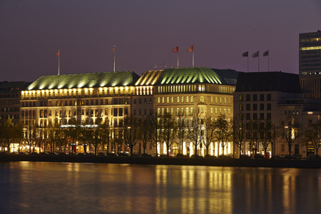 The picture shows the Inner Alster at night  Stock Photo