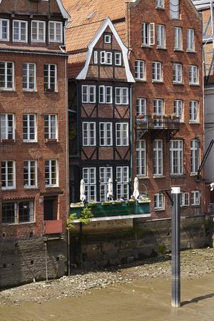 Hamburg´s oldest houses at the Nikolaifleet (Deich Street). Stock Photo