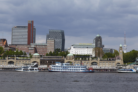 The skyline of Hamburg´s harbor with the famous landmark Hamburg jetties.