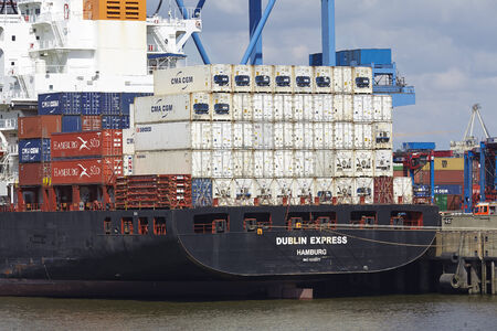 containership: The container vessel Dublin Express is loadedunloaded at the container terminal Burchardkai in Hamburg-Waltershof on May 2014, 03.