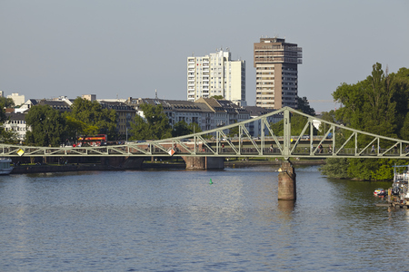 The Iron Bridge (so called Eiserner Steg) at Frankfurt Main taken in the early evening. Stock Photo