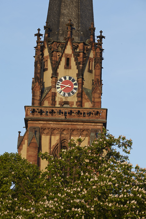 sachsenhausen: Tower of the Church of the Three Kings in Frankfurt at Main (river) taken in the early evening. Stock Photo