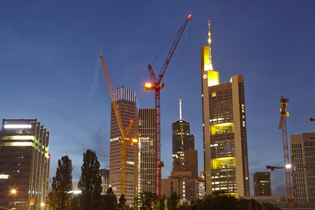 Towers of the biggest bank companies at Frankfurt   Main  Germany  taken on May 2014, 05 in the evening  blue hour   Editorial