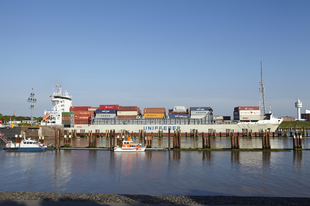 ida: The container vessel Ida Rambow at the departure of the lockage Brunsbuettel on May 2014, 17