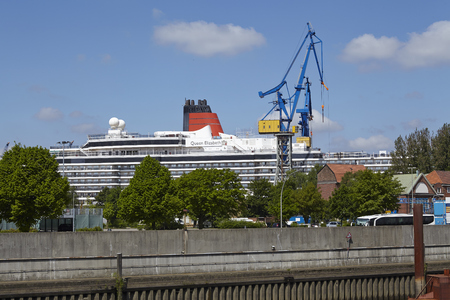 drydock: The luxury liner Qieen Elizabeth in a drydock of Blohm & Voss in the harbour of Hamburg on May 17, 2014.