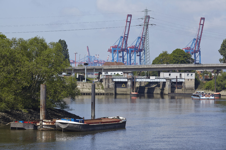 The Ellerholz lock in the harbour of Hamburg on May 17, 2014. The Ellerholz locks prevents the influx of sand and silt into the harbour.