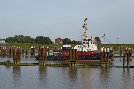 repaired: The tug boat Arion at the lockage Brunsbuettel (Schleswig-Holstein, Germmany) to the Kiel Canal in front of the newly repaired lock chamber on June 7, 2014.