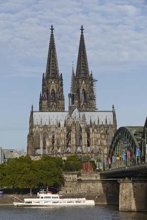 The Cologne Cathedral (Northrhine-Westphalia, Germany) near the river Rhine taken on August 17, 2014.