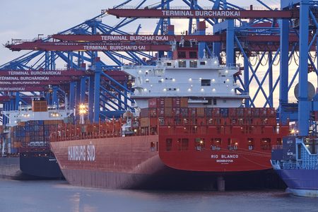 The container vessel Rio Blanco (Hamburg Sued) is loaded  unloaded the terminal Burchardkai in the deepwater port Hamburg-Waltershof on August 8, 2014.