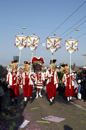 The Carnival at Basel (Basle - Switzerland) in the year 2013. The picture shows some costumed people on February 18, 2013.
