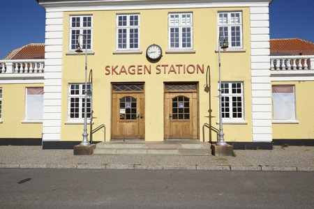 jutland: The old Central Station at Skagen (Denmark, North Jutland) is built in the typical architectural style and colors with ochraceous walls, a red roof and white joints. Editorial