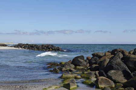 jutland: The coastal line at Skagen (Denmark, North Jutland) near the junction of Skagerrak (North Sea) and Kattegat (Baltic Sea) is protected with stone groynes.