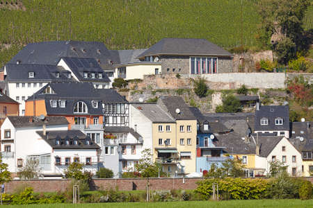 Some houses along the river Saar at Saarburg (Rhineland-Palatinate, Germany) taken on October 4, 2014. Editorial