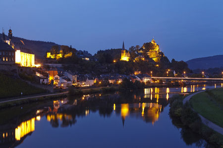 Total view of Saarburg (Rhineland-Palatinate, Germany) taken in the evening on October 4, 2014.