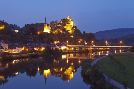 morning blue hour: Total view of Saarburg (Rhineland-Palatinate, Germany) taken in the evening on October 4, 2014.