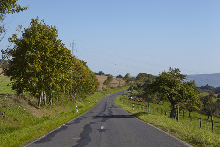 A landscape with a road, trees and grassland taken by fine weather with a cloudless blue sky.