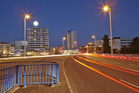 inner city: The inner city of Saarbruecken (Saarland, Germany) taken at the blue hour on October 3, 2014.