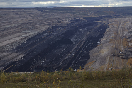 bituminous coal: The soft coal open cast mining Hambach at Northrhine Westphalia (Germany) on the municipal of Niederzier and Elsdorf taken on November 17, 2014. Editorial