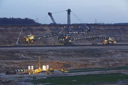 A rotary excavator at the soft coal open cast mining Hambach at Northrhine Westphalia (Germany) on the municipal of Niederzier and Elsdorf taken on November 23, 2014. Editorial