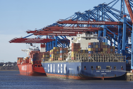 sued: The container vessel CMA CGM Musca is loaded and unloaded at the container terminal Burchardkai in the deepwater port Hamburg Waltershof on February 8, 8. 2015.