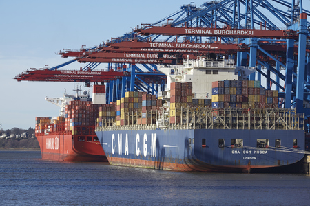 sued: The container vessel CMA CGM Musca is loaded and unloaded at the container terminal Burchardkai in the deepwater port Hamburg Waltershof on February 8, 2015.