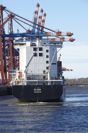 The container vessel arrives at the deepwater port Hamburg Waltershof on February 8, 2015. Editorial