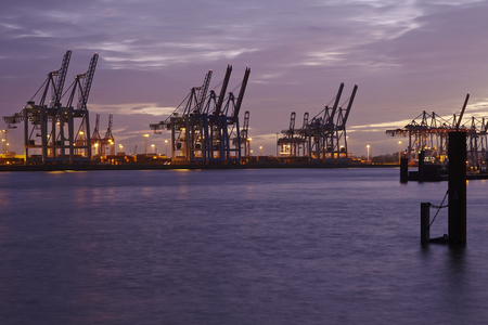 The Port of Hamburg (Germany) with container gantry cranes and terminals taken on February 8, 2015. Editorial
